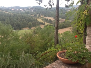 The view from the terrace to Umbria