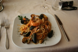 Seafood Pasta- I don't know how it tasted because he didn't share!
