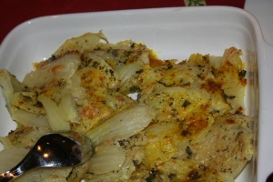 Fennel simmered until tender and covered in Parmesan and fresh bread crumbs