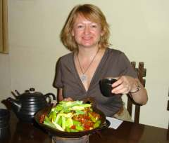 Enjoying Tea & Vegetables at a Yunnan restaurant