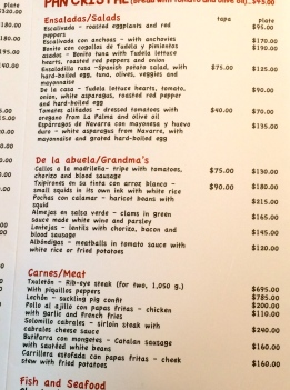 A small part of a large menu